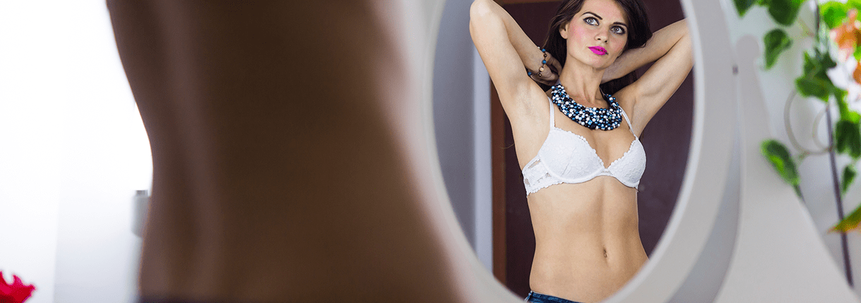 A woman considering laser lipo